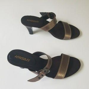 Aerosoles Powpaya Slip On Bronze Sandal